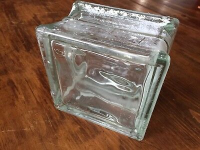 "Vintage Reclaimed Wavy Glass Architectural Block, 5 7/8"" X 5 7/8"" x 3 3/4"""