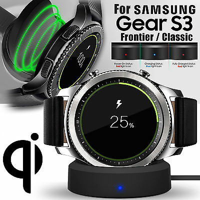 Qi Charging Dock Cradle Charger +USB cord For Samsung Gear S3 Classic / Frontier