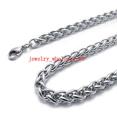 Lot of 5pcs stainless steel Wheat Braid Link Chain Necklace Silver Tone 4mm 24''