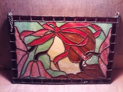 Vintage Leaded Stained Glass Window Gorgeous 1940's Flapper Silhouette