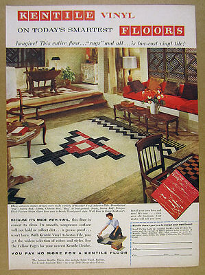 1960 Kentile Vinyl Asbestos Tile thunderbird floor design photo vintage print Ad