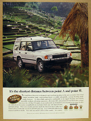 1996 Land Rover Discovery terraced rice paddy photo vintage print Ad