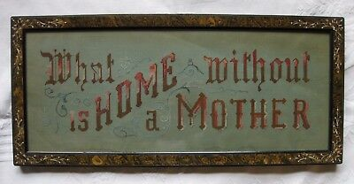 Victorian Punched Paper Motto Sampler with Aesthetic Movement Frame