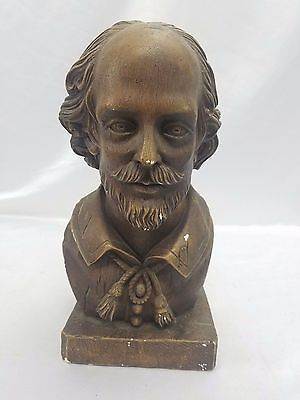 Austin Prod Inc 1965 Signed William Shakespeare Vtg Brown Head Bust Sculpture