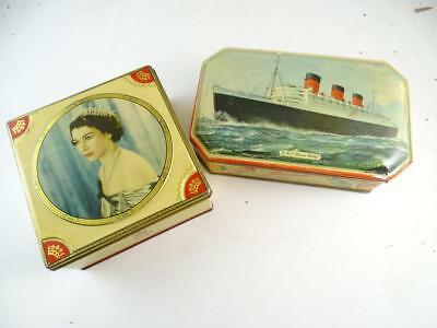 Vintage HM Queen Elizabeth II Coronation Tin Box RMS Queen Mary Bensons Candy x2
