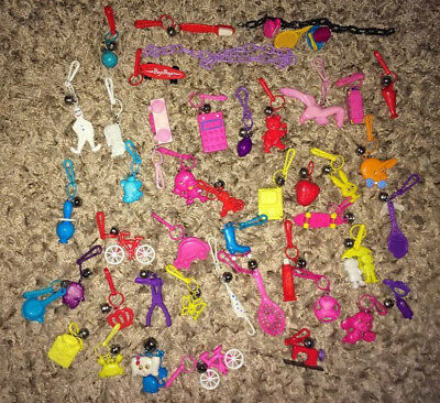 Huge lot Vintage 80's Bell Clip Plastic Charms with some Necklaces Chains