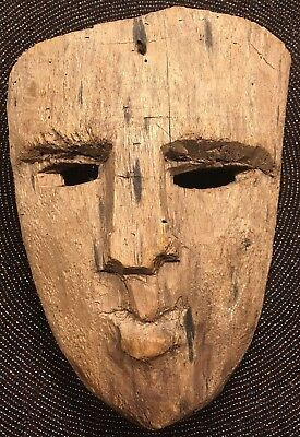 Rare Unique Antique Hand Carved Chiseled Primitive Solid Wood Folk Art Mask Vtg