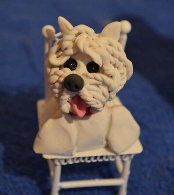 Westie dog handmade animated clay sculpture #2  In a Doll Chair