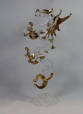 Standing Gold Dragon Figurine of Blown Glass Crystal