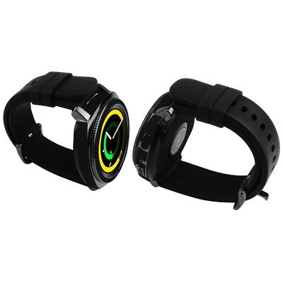 Skinomi Black Carbon Fiber Skin+Clear Screen Protector For Samsung Gear Sport