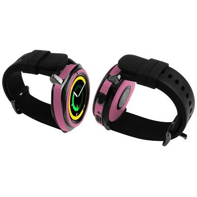 Skinomi Pink Carbon Fiber Skin+Clear Screen Protector For Samsung Gear Sport