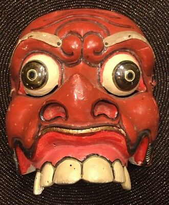 Vintage Atq Authentic Hand Carved Painted Wood Japanese Demon Tribal Dance Mask