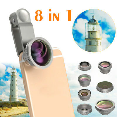 8in1 Camera Phone Clip Lens Fisheye Wide Angle Macro Travel Kit For iPhone X 8