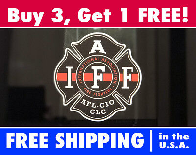 IAFF Firefighter The Thin Red Line Window Decal Stickers Fire Fighter Cross