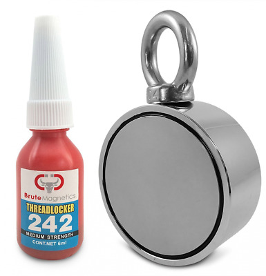 Brute Magnetics Double Sided Round Neodymium Magnet with Eyebolt,  800 Lbs