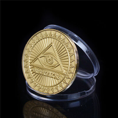 Gold-Plated The United States Masonic Freemasonry Commemorative Coin Gift 0H