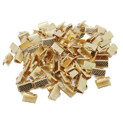 100x Metal Ribbon Crimp End Clasps Cord End Clips Jewelry Findings 6mm