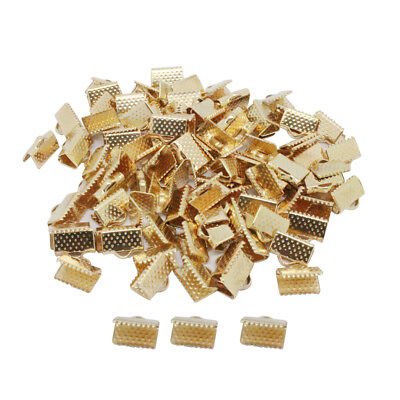 100pcs Ribbon Crimps Cord End Caps Clasps DIY Jewelry Making Findings 10mm