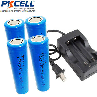 4pcs 18650 2600mah 3.7v Li-ion Rechargeable Vape Mod Battery + Dual Charger