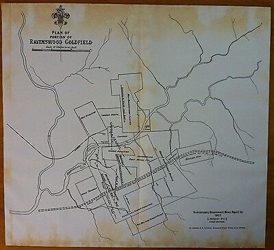 Original Map Ravenswood Goldfield North Queensland Showing Mining Leases 1902