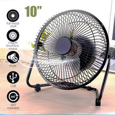 10'' Metal Electrical 360° Rotatable USB Fan Rechargeable Battery Desk 2-4 hour