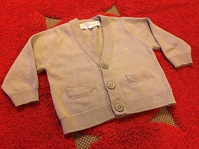 Chateau Le Sable BNWOT cardigan grey cashmere cotton baby 1 boy girl RRP USD$52