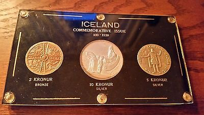 Beautiful Iceland Althing 2, 5, 10 Set in holder, a little toning, nice coins