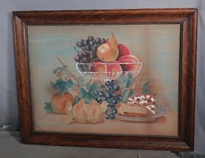 Antique American Folk Art Painting Theorem Style Fruit Cheese Signed Laura Gard