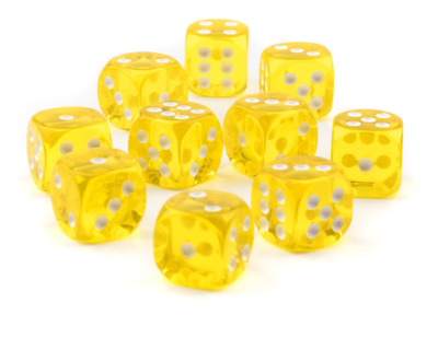 10 x LARGE Six Sided Translucent Yellow Dice 19mm Casino Craps