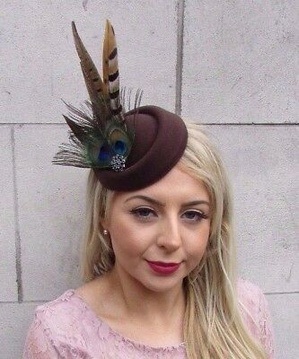 Brown Green Pheasant Peacock Feather Pillbox Hat Hair Clip Fascinator Races 4500