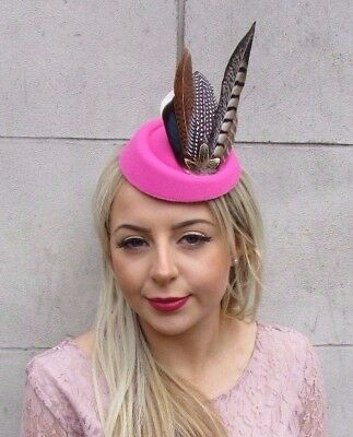 Hot Pink Brown Pheasant Feather Pillbox Hat Hair Clip Fascinator Races Vtg 4501