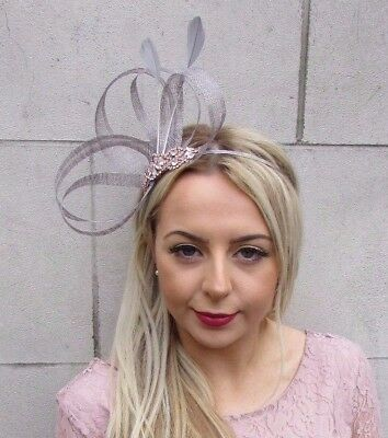 Grey Rose Gold Silver Feather Sinamay Fascinator Headband Races Cocktail 4504