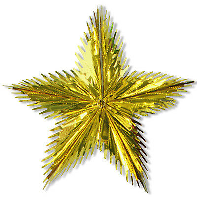 "16"" Christmas Party Gold Foil Shimmer Leaf Starburst Hanging Decoration"