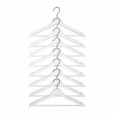 Ikea Bumerang Wooden Clothes Hanger 8 Pack Solid Wood in White