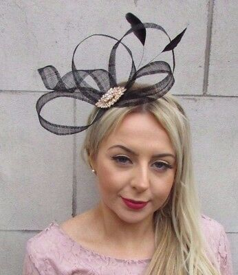 Black Gold Sinamay Feather Fascinator Races Cocktail Alice Band Headband 4508