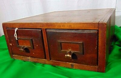 Antique 2 Drawer Card Catalog Table Top File Cabinet Finger Joint Box