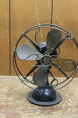 """Vintage ROBBINS & MEYERS BRASS BLADE ELECTRIC OSCULATING FAN 10.5"""" CAGE"""