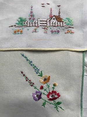 Bundle Antique Vintage Hand EMBROIDERED Floral Tea Tray LINEN Fabric TABLECLOTH