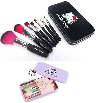 7pcs/set Hello Kitty Mini Eyeshadow Eyeliner Lip Makeup Brushes with Metal Box