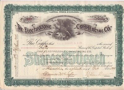 1899 Electrozone Commercial Co stock certificate (New Jersey)