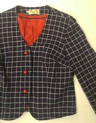 Vintage 1940s Lined Pendleton Girls Plaid Jacket Size 7/8