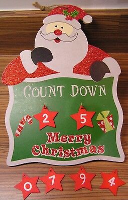 Countdown To Christmas Hanging Plaque Advent Sign Reindeer Santa Or Snowman