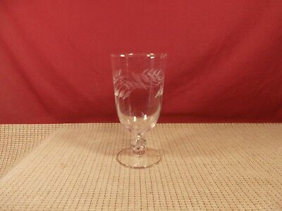 Libbey Crystal Gray Cut Wheat Pattern Iced Tea Goblet 6 3/4""