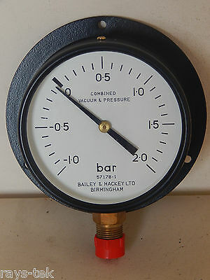 Bailey And Mackey Combined Vacuum And Pressure Gauge -1 to +2 Bar [R10C]