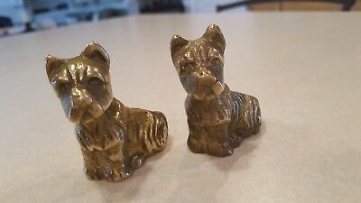 2 Antique Vintage Solid Brass / Bronze  Scottish Terrier Figurines