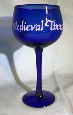 """Medieval Times 10"""" Glass Goblet Wine Mead Glass Blue"""