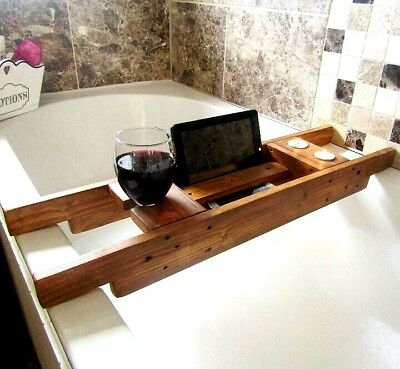 WOODEN BATH CADDY Tray Bath Shelf Tablet Wine Holder Rustic FREE SCENTED CANDLES