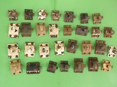 Lot of 30 Vintage Cabinet Door Latches. Small Sizes.