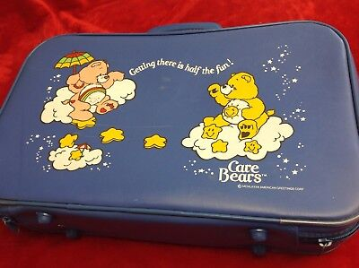 Vintage 1983 CARE BEARS Blue Childs Kids Vinyl Suitcase Overnight Bag