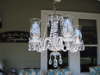 Vintage ornate glass crystal 5 arm light chandelier w crystal vintage ornate glass crystal 5 arm light chandelier w crystal teardrop prisms aloadofball Image collections